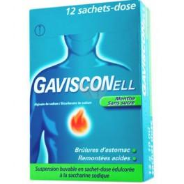 GAVISCONELL MENTHE SANS SUCRE 12 SACHETS A BOIRE