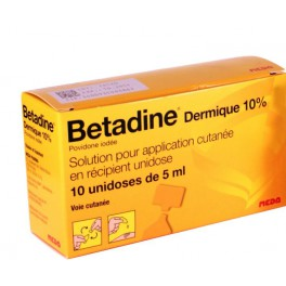 BETADINE 10%, solution locale, 10 doses 5ML
